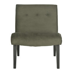 Safavieh - Saleem Chair - The retro-chic lines channeling the office chairs that made their way to living rooms across America in the 60's define the forest green-upholstered Saleem accent chair. Trendy in its simplicity, Saleem features birch wood legs of the period in java finish, and is upholstered in a blend of linen, cotton and synthetic yarns for easy care.