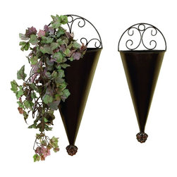 Benzara - Metal Wall Planter - Set of 2 - If you are looking for low cost but rare to find elsewhere utility- decor item to bring extra galore that could refresh the decor appeal of short spaces in garden or porch, beautifully carved 41765 Metal Wall Planter S/2 may be a good choice.