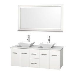"Wyndham Collection - Centra Bathroom Vanity in White,WT Stone Top,Pyra White Sinks,58"" Mir - Simplicity and elegance combine in the perfect lines of the Centra vanity by the Wyndham Collection. If cutting-edge contemporary design is your style then the Centra vanity is for you - modern, chic and built to last a lifetime. Available with green glass, pure white man-made stone, ivory marble or white carrera marble counters, with stunning vessel or undermount sink(s) and matching mirror(s). Featuring soft close door hinges, drawer glides, and meticulously finished with brushed chrome hardware. The attention to detail on this beautiful vanity is second to none."