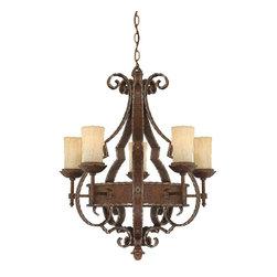 Quoizel Lighting - Quoizel LR5005RZ Laredo Rustic Bronze 5 Light Chandelier - 5, 60W B10 Candelabra