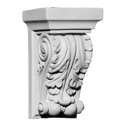 """Ekena Millwork - 3 1/2""""W x 2 3/4""""D x 6""""H Apollo Leaf Corbel - 3 1/2""""W x 2 3/4""""D x 6""""H Apollo Leaf Corbel. These corbels are truly unique in design and function. Primarily used in decorative applications urethane corbels can make a dramatic difference in kitchens, bathrooms, entryways, fireplace surrounds, and more. This material is also perfect for exterior applications. It will not rot or crack, and is impervious to insect manifestations. It comes to you factory primed and ready for your paint, faux finish, gel stain, marbleizing and more. With these corbels, you are only limited by your imagination."""