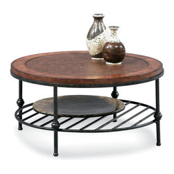 Bassett Mirror - Bentley Round Cocktail Table - Faux Leather and Wood Tops with Gun Metal Base. Measures: 36 in. W x 36 in. D x 18 in. H. Part of the Bentley Collection.