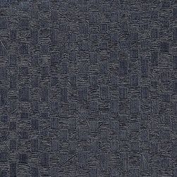 Romosa Wallcoverings - Metallic Blue Geometric Embossed Woven Basket Wallpaper - - Color: Metallic Blue