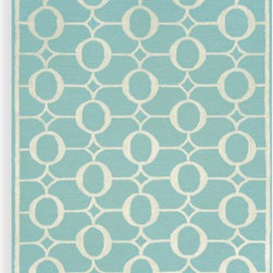 Spello Arabesque Aqua Indoor/Outdoor Rug - I've been a bit obsessed with trying to find a good area rug for the kitchen sink area, one that will stand up to repeated washing (I spill a lot).