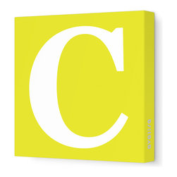 "Avalisa - Letter - Upper Case 'C' Stretched Wall Art, Yellow, 12"" x 12"" - Spell it out loud. These uppercase letters on stretched canvas would look wonderful in a nursery touting your little one's name, but don't stop there; they could work most anywhere in the home you'd like to add some playful text to the walls. Mix and match colors for a truly fun feel or stick to one color for a more uniform look."