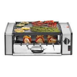 Cuisinart - Cuisinart GC-15 Griddler 1000-watt Centro Compact Grill - Cook kebabs and hot dogs on the bottom and grill or griddle your favorites on top with the Cuisinart Griddler. The Centro Compact Grill features a top tier that easily converts from grill to griddle and a bottom tier that automatically rotates kebabs.