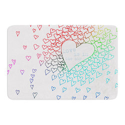 "KESS InHouse - Monika Strigel ""Rainbow Hearts"" Memory Foam Bath Mat (17"" x 24"") - These super absorbent bath mats will add comfort and style to your bathroom. These memory foam mats will feel like you are in a spa every time you step out of the shower. Available in two sizes, 17"" x 24"" and 24"" x 36"", with a .5"" thickness and non skid backing, these will fit every style of bathroom. Add comfort like never before in front of your vanity, sink, bathtub, shower or even laundry room. Machine wash cold, gentle cycle, tumble dry low or lay flat to dry. Printed on single side."
