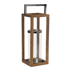 IMAX CORPORATION - Stroud Larg Wood Lantern - With warm honey toned wood framing a glass hurricane and stainless steel accents, the Stroud lantern has a versatile style that looks great with multiple decor options. Holds pillar candles. Find home furnishings, decor, and accessories from Posh Urban Furnishings. Beautiful, stylish furniture and decor that will brighten your home instantly. Shop modern, traditional, vintage, and world designs.