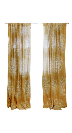 Ichcha - Forest Tree Window Curtain - Block printed with natural dye Deep Yellow on off white, light weight cotton window panel.
