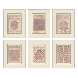 Soicher-Marin - Garden Plans, Set of 6, Pink - Silver Wood Frame with off white mat insert.  Includes glass, eyes and wire.  Made in the USA. Wipe down with damp cloth