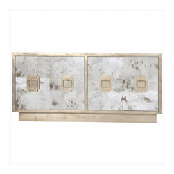 Worlds Away Ponti Entertainment Center, Silver Leaf - Antique mirror 4-door entertainment console with silver leaf detailing, silver leaf iron handles and fixed interior shelf.