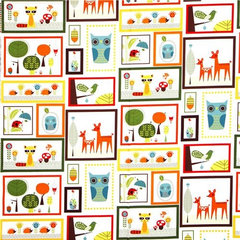 kids decor fabric animals in rectangulars owl Retro Robert Kaufman