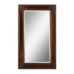 Antiqued Gold Leaf Finish Mirror with Black Details and Subtle Green Undertones - Antiqued Gold Leaf Finish Mirror with Black Details and Subtle Green Undertones