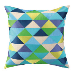 """Trina Turk - Trina Turk Holister Blue/Green Embroidered Pillow - Inspired by colorful and vibrant fashion design, Trina Turk infuses home de��_cor with Palm Springs chic. The Hollister throw pillow delivers joie de vive to a modern room through an exceptional geometric pattern of ocean-colored triangles. 20""""W x 20""""H; 100% linen; Embroidered in aqua, sky blue, periwinkle, navy, lime and grass green; Handcrafted; Includes 95/5 feather down pillow insert; Dry clean only"""