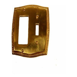 Brass Accents - Brass Accents Rope Double G.F.I./Switch Polished Brass M06-S2671 - Brass Accents Rope Double G.F.I./Switch