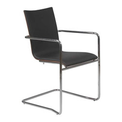 Eurostyle - Eurostyle Madge Leatherette Arm Chair w/ Chromed Steel Frame [Set of 2] - Leatherette Arm Chair w/ Chromed Steel Frame belongs to Madge Collection by Eurostyle The elegantly understated Madge Armchair is sure to make a great addition to your home or office furniture. This faux leather chair boasts a sturdy chrome-finished frame and a smooth walnut veneer backing. Use it as an accent chair in any interior for a dash of sleek contemporary style. The chair's legs feature built-in plastic floor protectors. Made of leatherette, wood veneer and steel. Arm Chair (2)