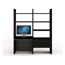 BDI - Semblance Office Package 5412DC, Espresso - This BDI Semblance Office Package features adjustable shelves, cabinets, and a desk surface, with a fully modular construction that allows it to be changed almost on a whim. Extremely strong and stable, Semblance's shelves support 100 lbs or more. Cabinets have micro-etched glass doors and shelves are micro-etched tempered glass with steel supports. Leveling feet built in. Hardwood veneer on sturdy MDF.