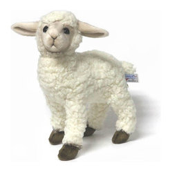 Hansa - Hansa White Kid Sheep Lamb - Baah! says this sheep. Hansa Sheep is made from white woolly plush with dark eyes and eyelids. Sheep is standing on all four brown hooves. Hansa Toys is known worldwide for their realistic, stuffed plush, life like creations and life size realistic animals.