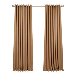 Exclusive Fabrics & Furnishings, LLC - Alpaca Tan Grommet Doublewide Blackout Curtain - SOLD PER PANEL. 100% Polyester. Grommet. Unlined. Imported. Weighted Hem. Dry Clean Only.