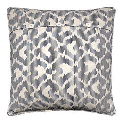 Explorer Pillow - Take to the skies and explore the world with this eye-catching pillow. Made from 100 percent natural cotton, the distinctive grey and white ikat design gives the impression of gentle clouds streaming past your window as you jet to your next destination. With frothy hand-stitched white ruching on the reverse, you can group these pillows to fill your home with soft, romantic design and thoughts of boundless explorations.     Pillow comes with a synthetic down, hyper-allergenic insert. Dry Clean Only.