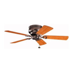 Kichler Lighting - Kichler 42-Inch Bronze Ceiling Fan with Five Blades - 339017OBB - Transitional oiled brushed bronze indoor ceiling fan. Hugger style ceiling fan to mount flush to the ceiling for a low profile. UL listed. Dry location rated.