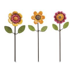 Miniature Fairy Garden Flower Pick - Set of 3 - A cute sunflower adorns your garden.