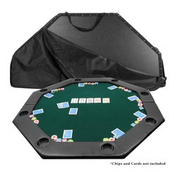Trademark Poker - 52 in. Octagon Padded Poker Tabletop in Green - Comes with green felt top and vinyl covered bottom for protection. Bi-fold center area. Black nylon carrying case. 8 built-in cupe holders. 52 in. L x 52 in. W x 1.75 in. H (30 lbs.)This brand new style of folding poker table has a segmented center which allows for smother action during play. The 52 in. L x 52 in. W green surface is lined with a supple arm rest that includes built-in cup holders for each of the eight people it seats. Play like a pro anywhere you want as this table comes with its own sturdy black vinyl carrying case.