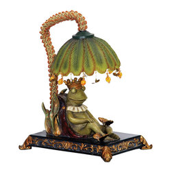 Sterling Industries - Sterling Industries 91-740 Sterling Sleeping King Frog Mini Lamp - Traditionally Frogs Represent Good Omens, Happiness And Great Friendships. The Sterling Sleeping King Frog Mini Lamp Sleeps Under The Shade Of A Lily Pad That Holds (1) 15 Watt Bulb. Decorative Charms Hanging From The Lily Pad Adding A Touch Of Whimsy Along With The Acrylic Beaded Sleeve That Surrounds The Pipe. This Is A Fun And Quirky Night Light For A Bedside Table Or Tucked Away In A Small Corner Of The Living Room, Family Room, Den Or Library. Overall It Stands 12.25 Inches Tall And 10.25 Inches Long X 6.75 Inches Wide And The Shade Measures 3.5 Inches Tall X 6 Inches Long X 6 Inches Wide.   Lamp (1)