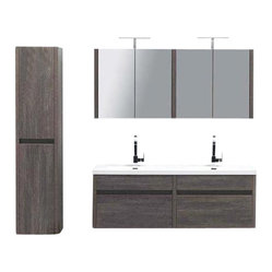 "JWH Imports - 59.5"" Kiruma Wall Mounted Double Sink Vanity Bundle - Go au naturel and up-to-the-minute modern in your personal space. This gray wood-grained double vanity sink and wall mounted cabinet look sleek, stylish and spa-like — ideal design components of the sumptuous yet unfussy bath."