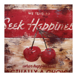 ESTUDIO39 - 'The Hardest Of Easy Choices'  Stretched Canvas, 18x18 - The cheerful red cherries catch your eye and the vintage feel warms your soul.  This piece easily provides the final touch for any room.  The inspirational words are clear and the graphics are uncluttered; it is this simplicity that makes the piece a timeless treat.