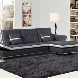 Modern Unique Tufted Gray White Leather Sectional Sofa Couch Chaise - Features