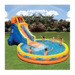 Inflatable Water Slide Pool Bounce House - Inflatable slide plus pool? It's the perfect combination! Kids will land on a soft-bottom pad inside the inflatable splash pool where the fun continues.