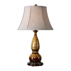 Algona Honey Gold Lamp - *This Lamp Is A Metal Turning Finished In A Distressed High Gloss Honey Gold With Ivory Undertones And Burnished Brown Details. The Round Bell Shade Is An Oatmeal Linen Fabric With Natural Slubbing.