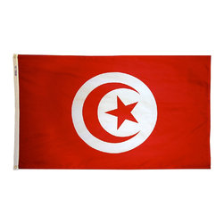 Flagline - Tunisia - 2'X3' Nylon Flag - If you are a serious flag collector or if you plan on displaying your flag outdoors, you should consider our line of Nylon flags. Our Nylon flags are made of 100% Perma-Nyl Nylon, finished with canvas headings and brass grommets, primarily for outdoor use. Nylon flags are heavier than Polyester and stand up well to sun exposure. A Nylon flag provides a longer life of service and enjoyment.