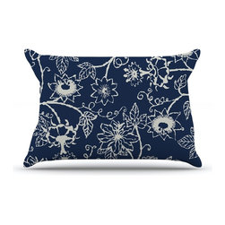 "Kess InHouse - Laura Nicholson ""Passion Flower"" Navy Floral Pillow Case, King, 36""x20"" - This pillowcase, is just as bunny soft as the Kess InHouse duvet. It's made of microfiber velvety fleece. This machine washable fleece pillow case is the perfect accent to any duvet. Be your Bed's Curator."