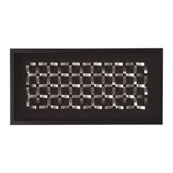 Howard Elliott - Silver Geometric Block Wall Art II - Wall Art, Silver Geometric Blocks with Java Stained Wood Veneer Rectangular Frame