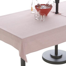 "Red Ticking Stripe 54""x120"" Umbrella Tablecloth - Fresh ticking stripe in red adds a classic, summery look to the outdoor table.  No need to remove the umbrella, our specially designed tablecloth wraps around the pole, snapping into place."