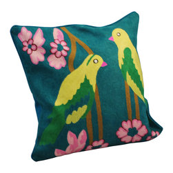 Crewel Work Pillow With Kashmir Bird Design, Turquoise - Made in India. Cotton/polyfill. Dry clean only.
