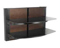 "Sanus - Sanus 24"" Tall 2 Shelf Decorator Panel Wall Mounted Furniture - Sanus - Audio Racks - VF5022B1 -The Sanus Foundations Vertical Series VF5022 is an AV component system that mounts directly under a wall-mounted TV for a sleek, streamlined look. Specially designed brackets simplify installation by providing both lateral and vertical adjustment, even after hanging. Cable management channel easily routes cabling behind unit. The VF5022 includes two interchangeable back panels in black glass or mocha-finished wood to match any home decor. Back panels are easily removed for easy access to wall outlets and surge protector. Two thick tempered-glass shelves support up to 75 lbs each and can be vertically adjusted to accommodate any AV component arrangement."