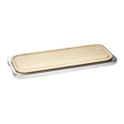 Rosenthal - Linear Sambonet Tray with Cutting Board - This elegant 18/10 stainless steel cutting board is a fantastic way to make anything you serve stand out. Tray has a wood cutting board inset for slicing and cutting pate, cheese, meat, and more.
