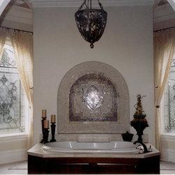 Custom art glass for an opulent master bath - Master bath window designed to mimic the tile design over the tub