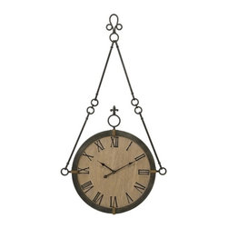 """IMAX - CKI Alexander Wall Clock - Carolyn Kinder designed traditional hanging wall clock made of iron with roman numerals. Item Dimensions: (47""""h x 25.25""""d)"""