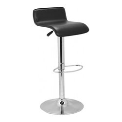Safavieh - Aubrey Gas Lift Stool - The Aubrey Gas Lift Barstool is the perfect seating for transitional and contemporary settings. The sleek, curved seat in black bonded leather with a low back silhouette tops a chrome pedestal and circular base delivering clean lines and luxury performance. The chrome footrest and seat adjustable to 35.5 inches will suit everyone in comfort.