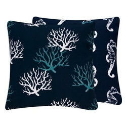 "Chloe and Olive - Wonders of the Seas Navy Outdoor Collection 18"" Pillow - Create a seaside retreat easily and quickly with this nautical and ocean-inspired collection."