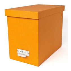 Bigso - Bigso Basix Desktop File Box - Orange - A file box with color and style? We're sold. Snag one (two or three) of our orange Basix Desktop File Box's to whip your desk into shape. Please just pay for them first. Accomodates letter size hanging files, sold seperately. Metal label holders remind you of what's stored inside; pull tabs help you pull them from the shelf.