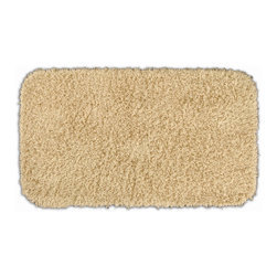None - Quincy Super Shaggy Sand 30x50 Bath Rug - Jazz up the bathroom, shower room or spa with a bright note of color while adding comfort to sink toes into with the Quincy Super Shaggy bathroom collection. This sandy tan rug is created from soft, durable, machine-washable nylon.