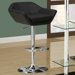 Monarch - Black / Chrome Metal Hydraulic Lift Barstool / 2Pcs - The contemporary design of this 2 piece black bar stool set is no doubt chic, thanks to sleek leather-look upholstery. Their unique symmetrically shaped, bucket seat style are lightly cushioned for your comfort. The sturdy frame and convenient square shaped foot rest are finished in an ever so fashionable chromed metal finish. A full-swivel mechanism and easy-to-use hydraulic lift system will take you to stylish and comfortable dining.