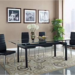 Charles Dining Table in Black (EEI-521-BLK) - Sublime symmetry and minimalist lines present a seamless finish to this revolutionary dining table. Temper idealist energy with balance and harmony to promote true progressive actualization. The Charles Dining Table is a centerpiece of perfect uniformity. Set Includes: One - Le Corbusier LC6 Dining Table
