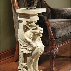 """Design Toscano - Trapezophoron Winged Lion Pedestal Plant Stand - Our architectural pedestal echoes those found in 1st century B.C. at Pompeii. Recalling the stylized winged lions that once served as masterful pillars in that historic city, this classic pedestal is cast in quality designer resin with an antique stone finish, ready to showcase artwork or greenery either alone or paired flanking an entryway. Features: -Pedestal.-Quality designer resin construction.-Hand finished.-Distressed: No.-Non-Toxic: No.-Scratch Resistant: No.-UV Resistant: No.-Stain Resistant: No.-Moisture Resistant: No.-Weight Capacity: 50 lbs.-Swatch Available: No.-Commercial Use: Yes.-Eco-Friendly: No.-Product Care: Clean with soft cloth.Dimensions: -Overall Height - Top to Bottom: 30"""".-Overall Width - Side to Side: 10"""".-Overall Depth - Front to Back: 10.5"""".-Overall Product Weight: 18 lbs.Assembly: -Assembly Required: No.-Additional Parts Required: No."""