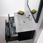 "Macral Leder 32"" wall-mounted vanity bathroom. black caw leather. - Made in Spain."